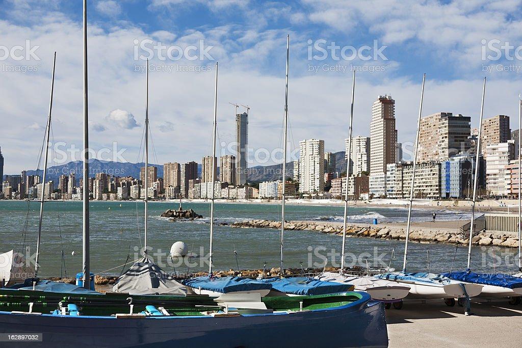 Moored boats in Benidorm royalty-free stock photo