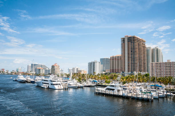 Moored Boats In Fort Lauderdale, USA stock photo
