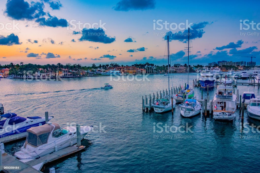 Boats in  Fort Lauderdale, Florida harbor at sunset royalty-free stock photo