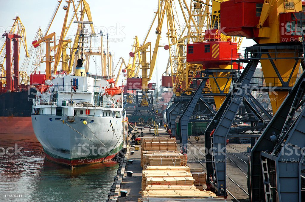 moored cargo ship at a port royalty-free stock photo