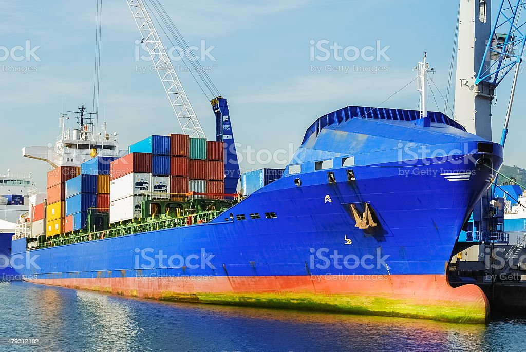 Moored container ship stock photo