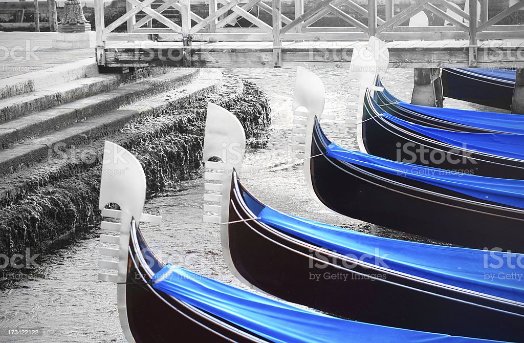 Moored gondole royalty-free stock photo