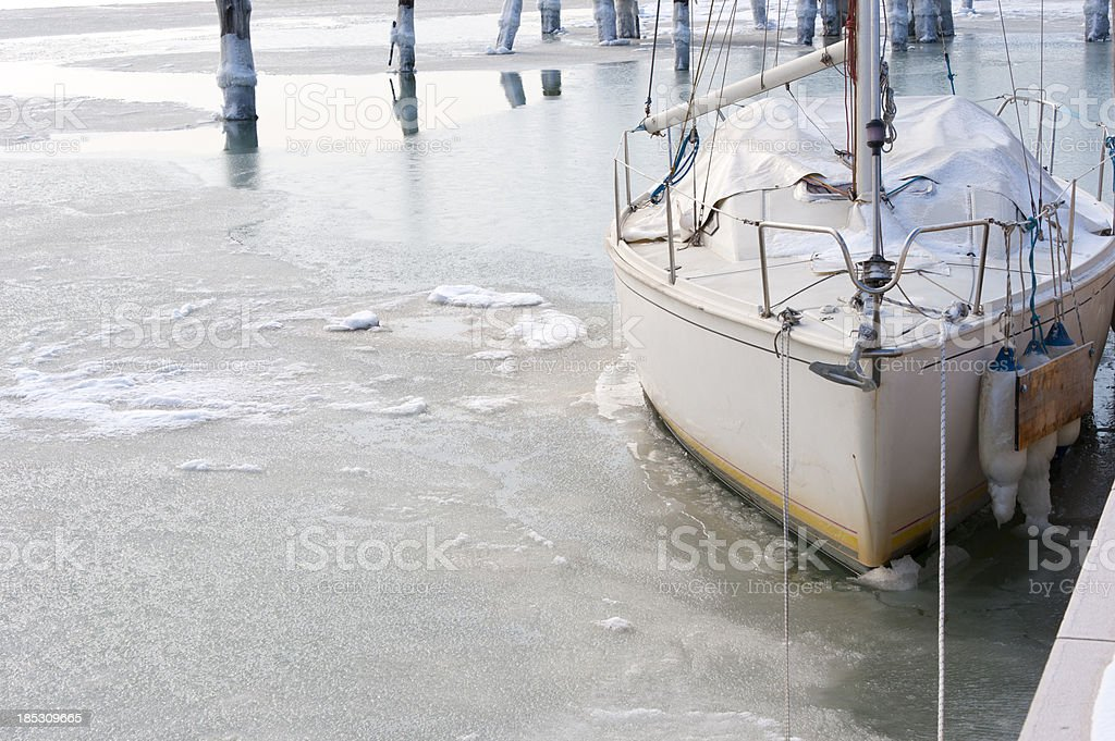 Moored in ice royalty-free stock photo