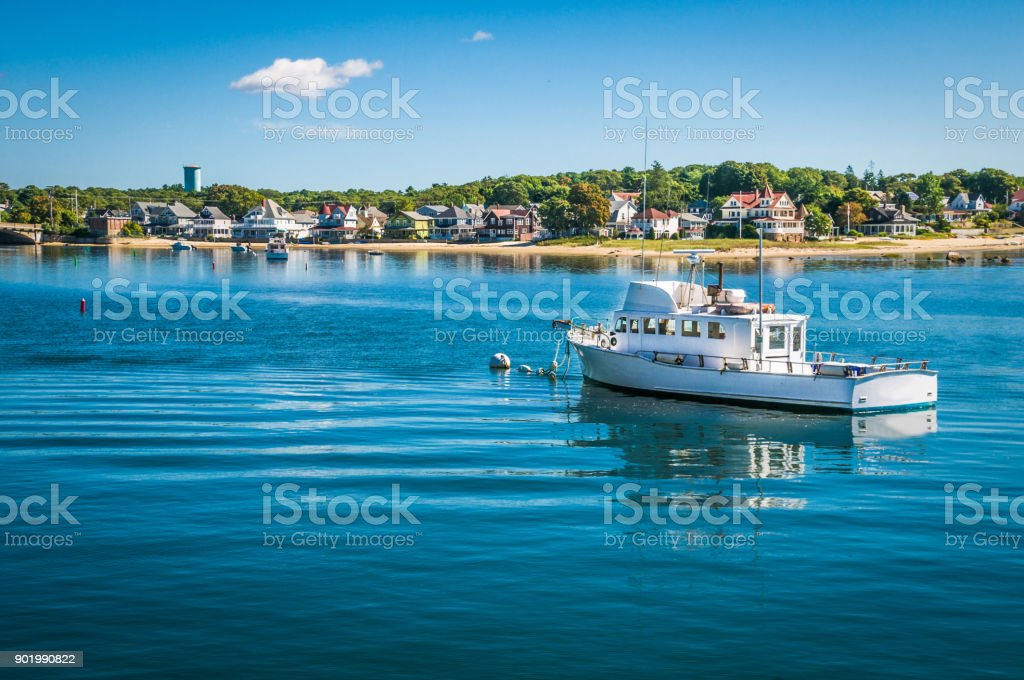 Moored in Onset Bay stock photo