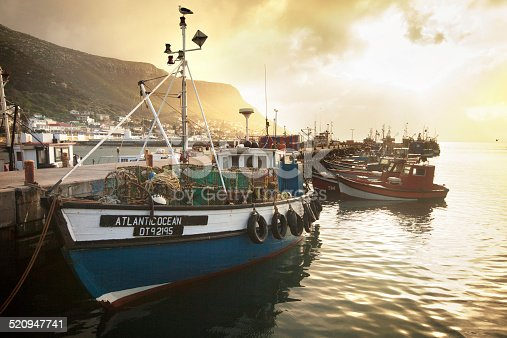 A view of a fishing trawler in the harbor