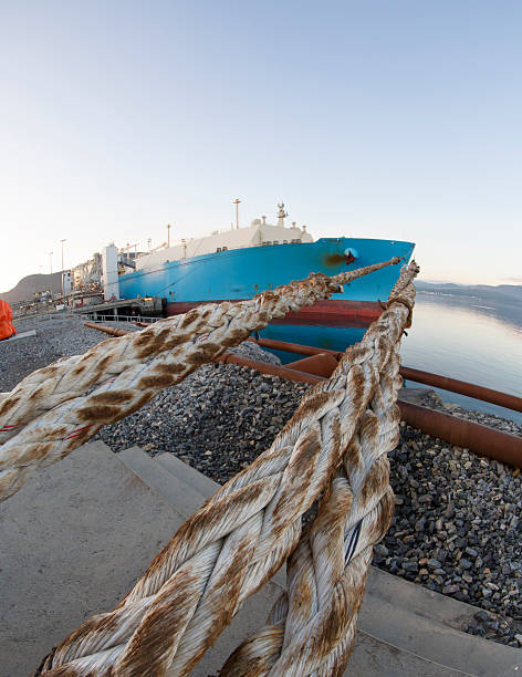 Moored LNG tanker. stock photo