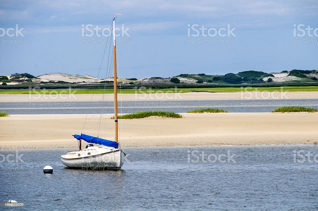 Moored off Sandy Neck stock photo