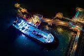 Moored oil tanker port