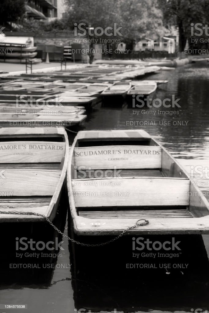 Moored punts in autumn Punts on the River Cam in Cambridge, England. Cambridge is famous for punts and is one of the two premiere University towns in the UK. 2019 Stock Photo