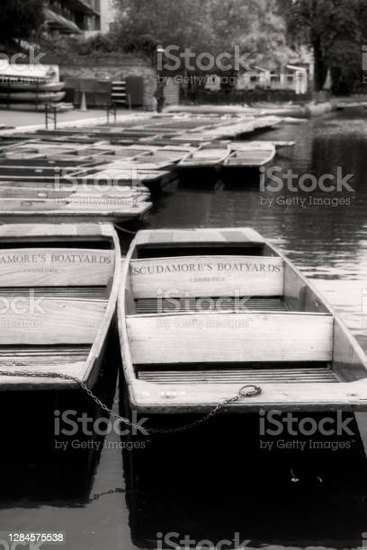 Moored Punts In Autumn Stock Photo - Download Image Now