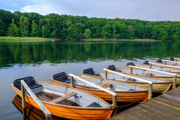 Moored Rowboats stock photo