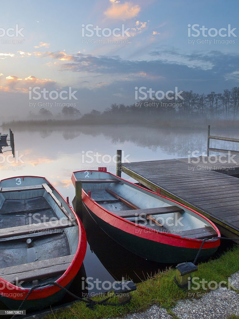 Moored rowing boats royalty-free stock photo