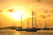 Moored sailboats in a St. Martin Harbor at sunset.