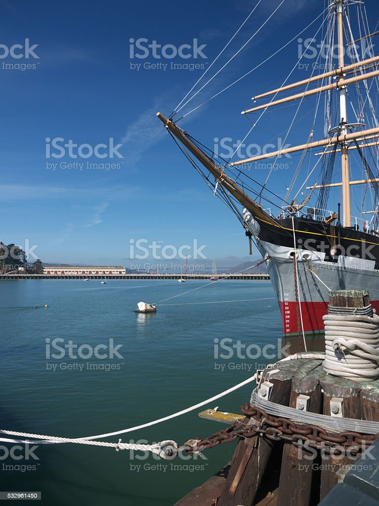 Moored sailing ship stock photo