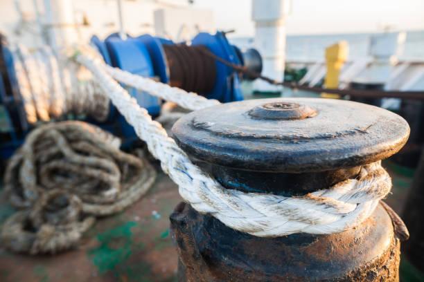 Mooring bollard on a ship stock photo