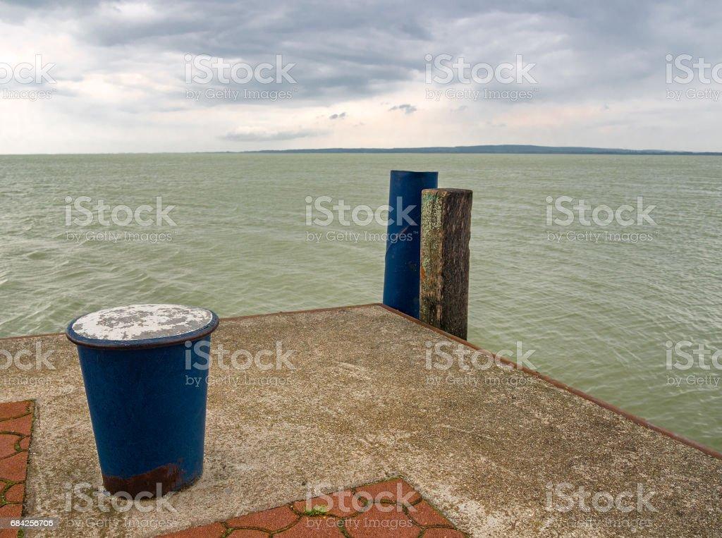 Mooring Bollard on pier. Lake Balaton. Keszthely, Hungary. stock photo