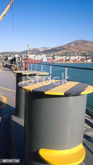 Mooring bollard on the decks of an industrial seaport