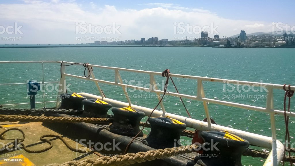 Mooring bollard on the decks of an industrial seaport. stock photo