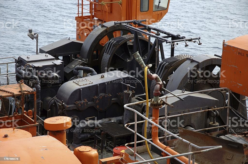 Mooring equipment on offshore oil rig stock photo