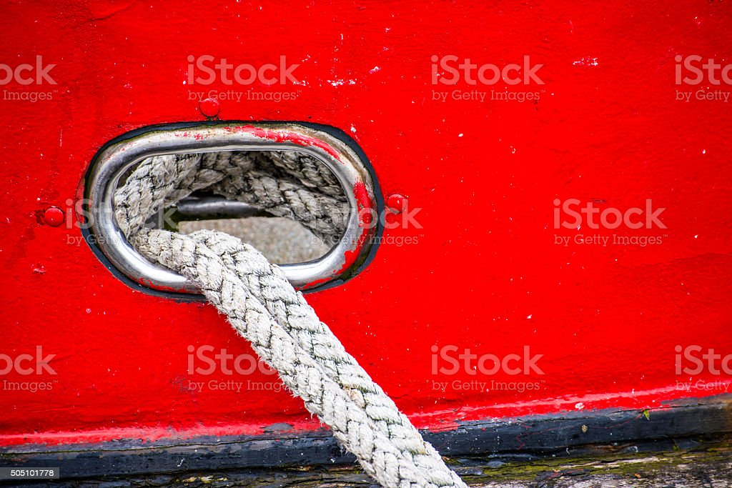 Mooring line of a trawler stock photo