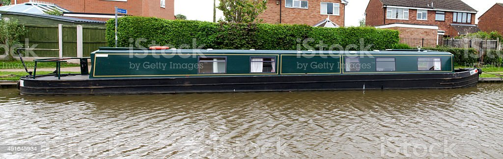 Mooring Narrowboat royalty-free stock photo