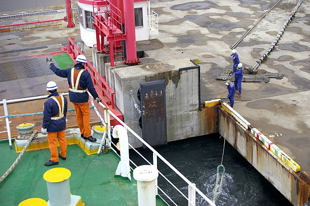 mooring of ferry - cable winch stock photos and pictures