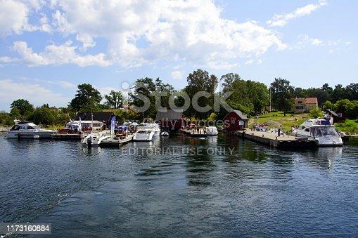Karlshamn, Blekinge, Sweden - July 26, 2019: Mooring place on Swedish island village Tärnö.