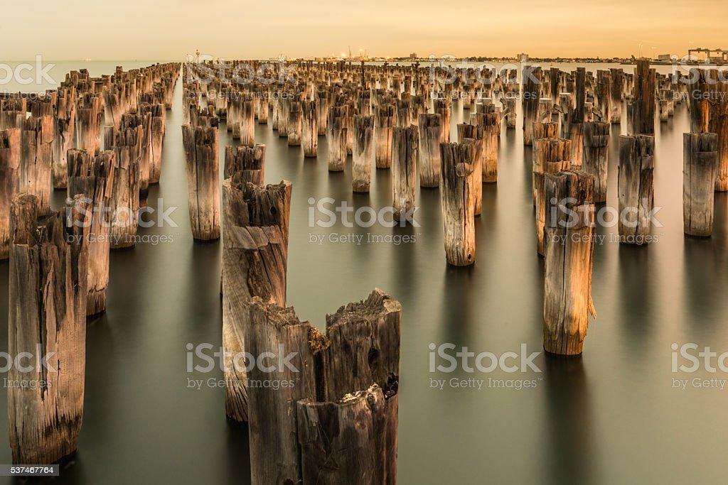 Mooring poles at sunset at Princes Pier stock photo