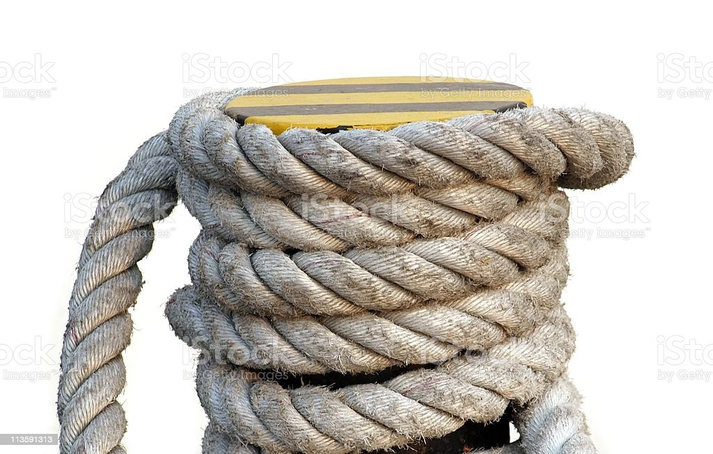 Mooring Post with Large Rope royalty-free stock photo