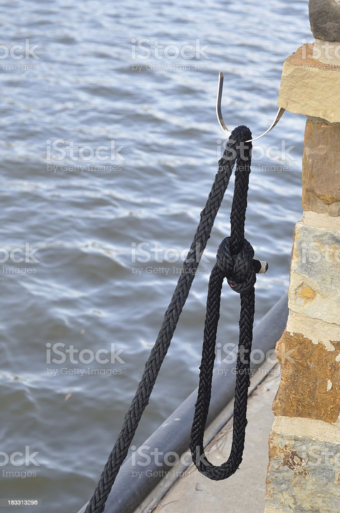 Mooring Rope with a Bowline Knot stock photo