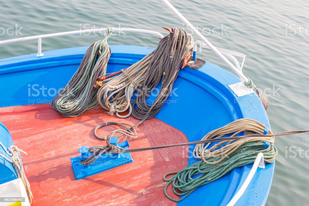Mooring ropes on boat bow royalty-free stock photo