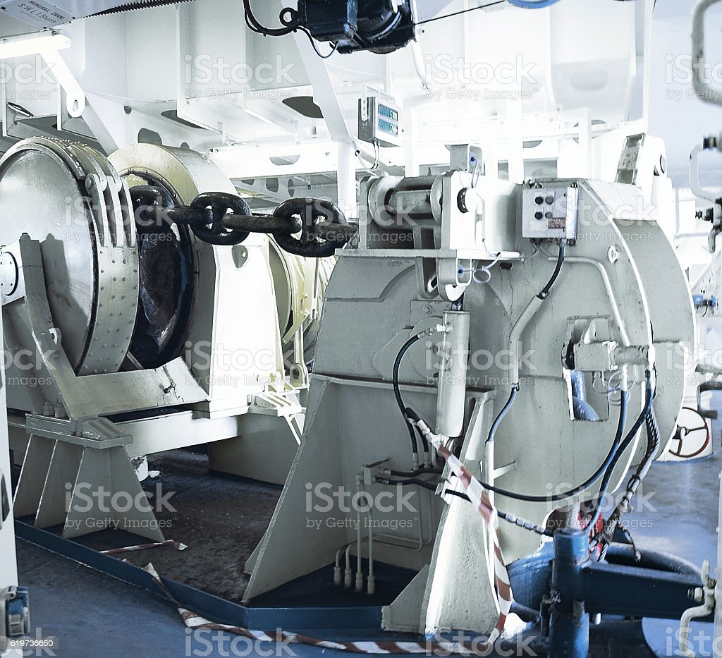 Mooring Winch on a large vessel stock photo