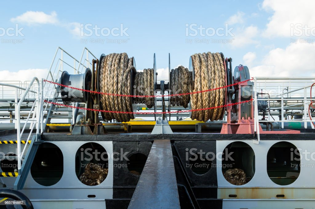 Mooring winch on the deck of a tanker - Royalty-free Backgrounds Stock Photo