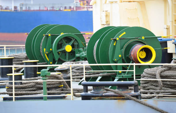 mooring winch with hawser - cable winch stock photos and pictures
