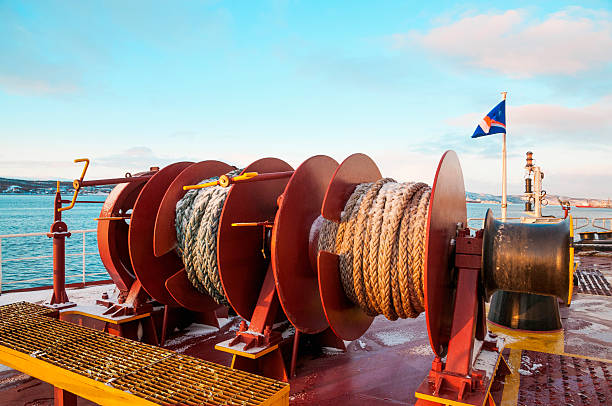 mooring winches. - cable winch stock photos and pictures