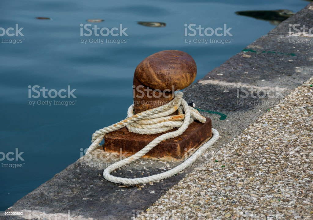 Mooring with rope stock photo