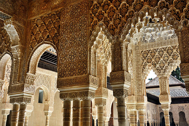 Moorish arches, Granada Moorish arches in the Court of the Lions, Alhambra, Granada palacios nazaries stock pictures, royalty-free photos & images