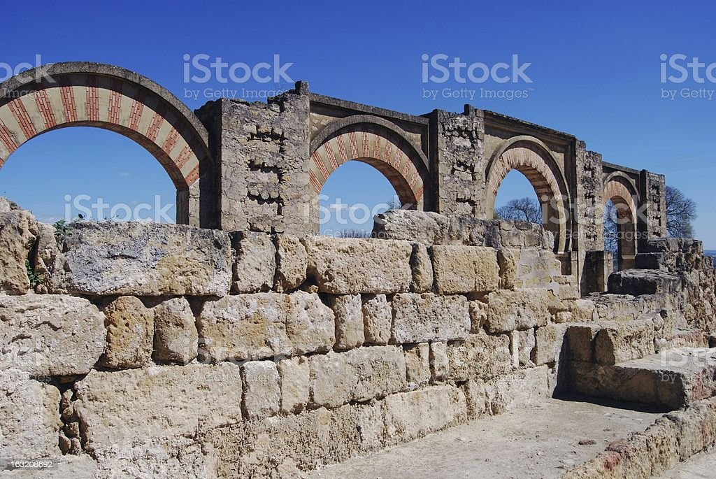 Moorish arches, Medina Azahara, Spain. royalty-free stock photo