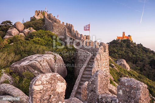Castle of the Moors and Pena Palace at sunset in Sintra, Portugal.