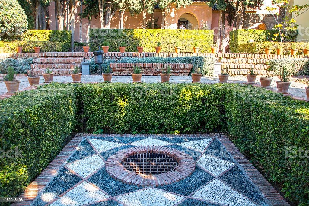 Moorish fortress in Malaga Spain stock photo