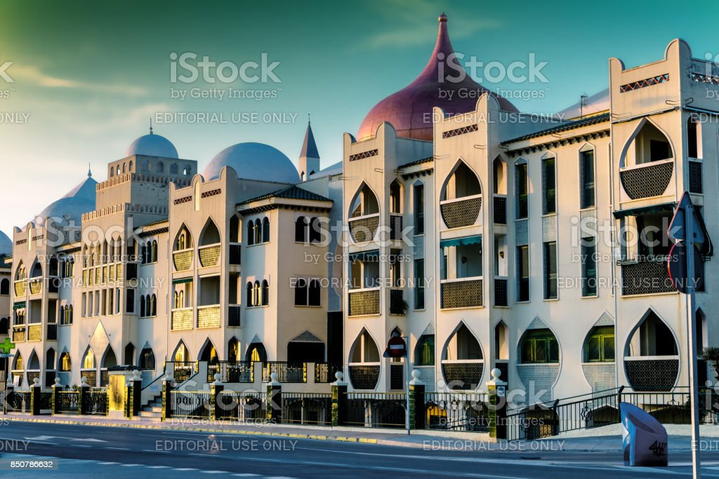 Moorish style residential buildings in Santa Pola, Southern Spain stock photo