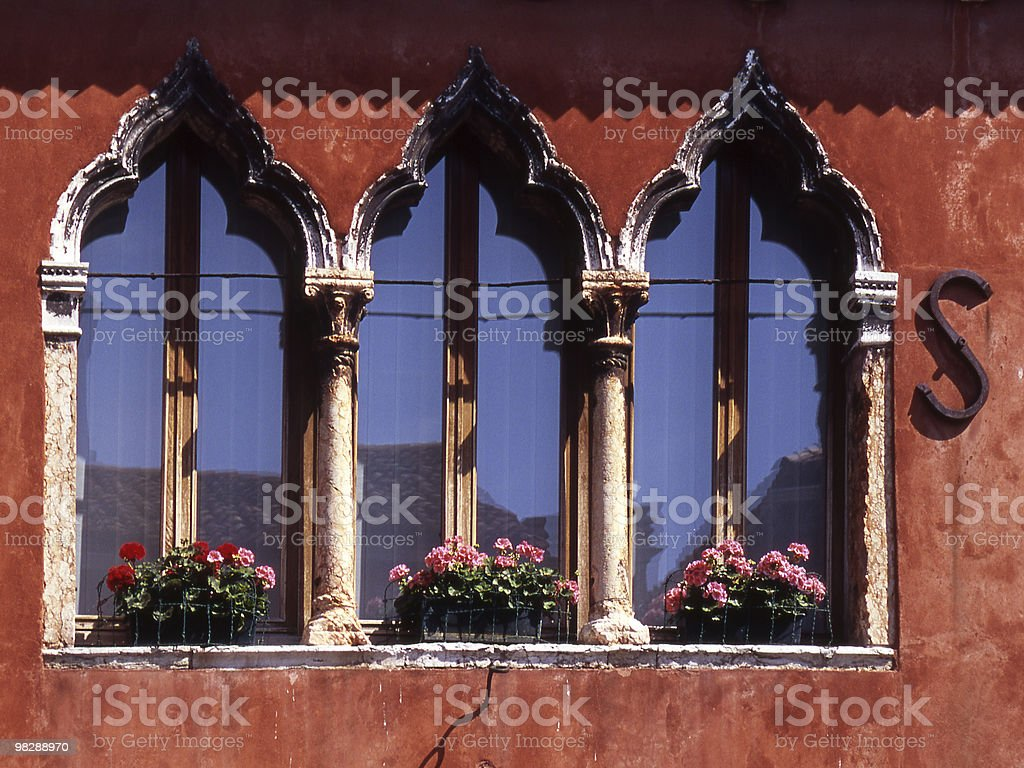 Moorish style windows in Murano, Venice, Italy royalty-free stock photo