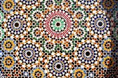 A tiled wall in moorish style in the Medina of Meknes. Morocco.