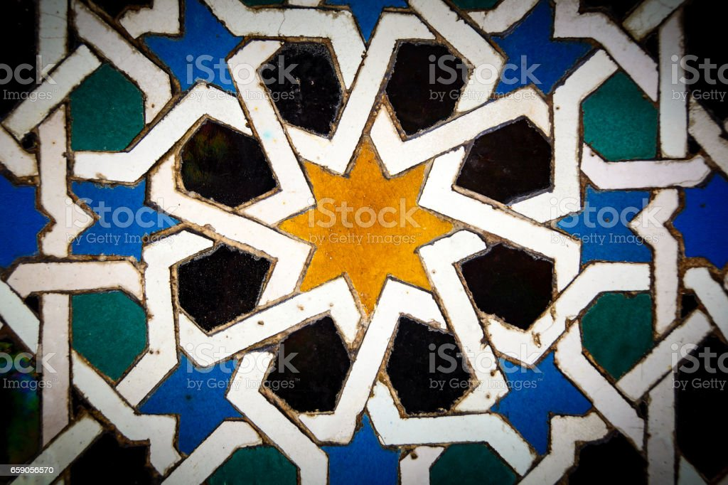Moorish tiles in close up in Andalusia Spain royalty-free stock photo