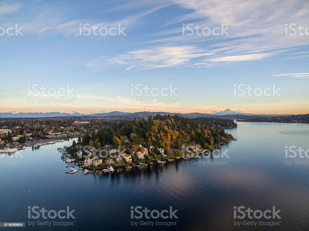 Moorland Meydenbauer Bay Bellevue Washington Mt Rainier Background 스톡 사진