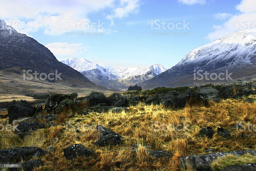 Moorland patch Mt Snowdon surrounds in Wales royalty-free stock photo