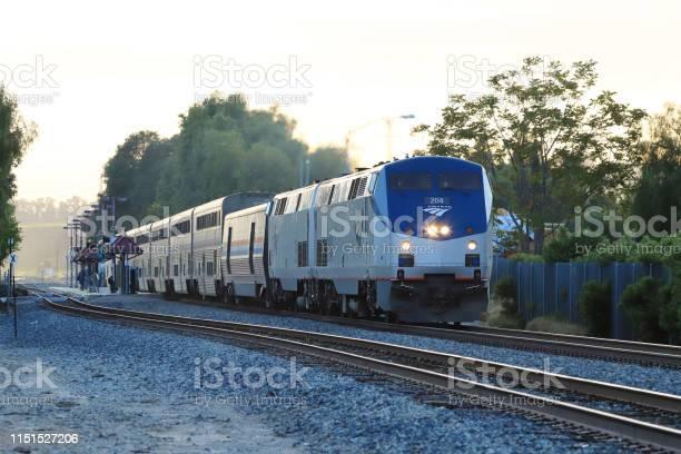 Moorpark, CA, USA - May.24.2019: Amtrak Coast Starlight (Seattle - Los Angeles) passed Moorpark Station