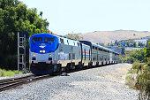 Moorpark, CA, USA - May.25.2019: Amtrak Coast Starlight (Los Angeles - Seattle) passed Moorpark Station