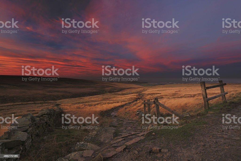 Moors sunrise stock photo