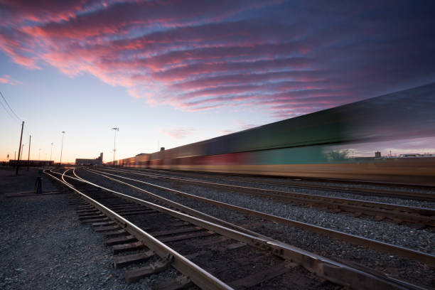 Moose Jaw Saskatchewan Freight Train stock photo